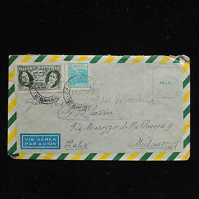 ZS-AC230 BRAZIL - Airmail, 1951 To Milan Italy Cover