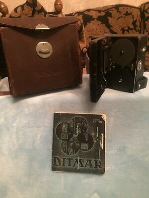 c1939 Ditmar Cine Camera With Case And Booklet