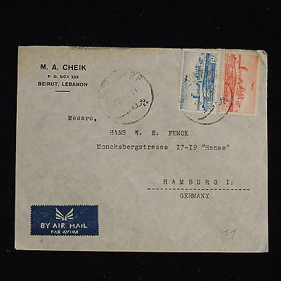 ZS-AC436 LEBANON IND - Airmail, 1951 From Beirut To Hamburg Germany Cover