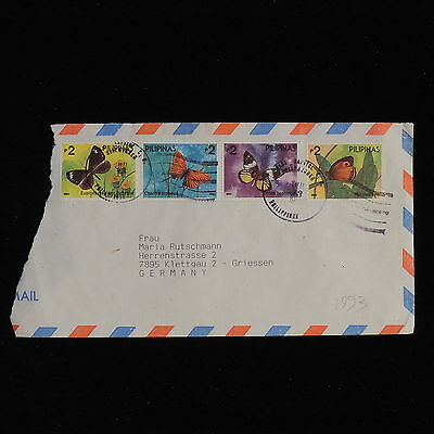 ZS-AC454 PHILIPPINES IND - Butterflies, 1993 To Griessen Germany Cover