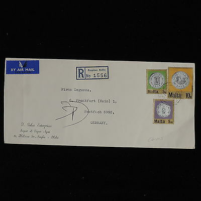 ZS-AC585 MALTA IND - Coins, Registered Mail To Frankfurt Germany Cover