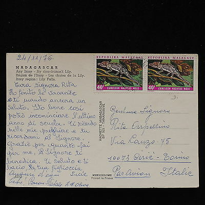 ZS-AC636 MADAGASCAR IND - Reptiles, 1976 From Antanarive To Cirie Italy Cover
