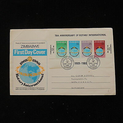 ZS-O087 ZIMBABWE - Rotary, 1980 Sheet Fdc 75Th Anniversary Cover