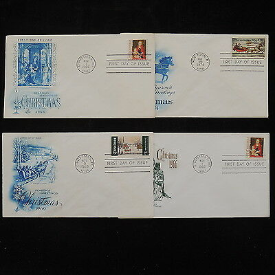 ZS-R284 UNITED NATIONS - Christmas, Fdc, Lot Of 4 Great Franking Covers
