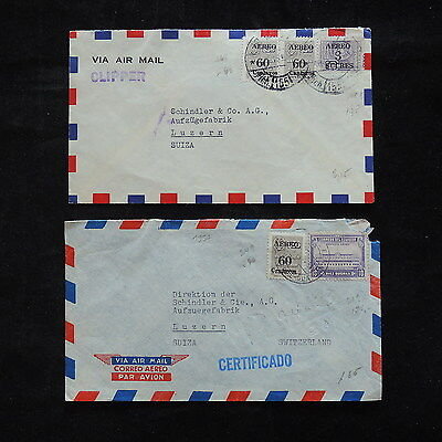 ZS-R377 ECUADOR - Covers, 2 Air Mail To Switzerland
