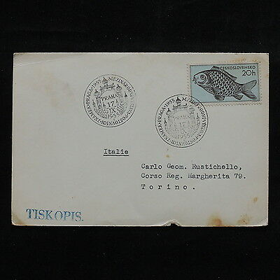 ZS-R546 CZECHOSLOVAKIA - Fish, 1955 Praha Great Franking To Italy Cover