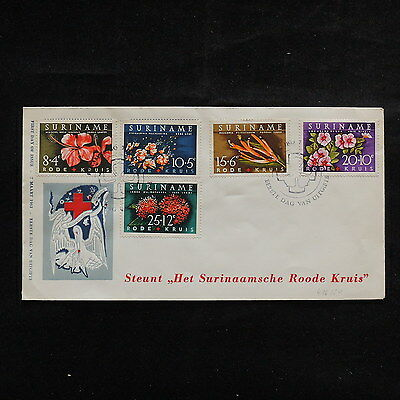 ZS-R657 RED CROSS - Suriname, 1962 Fdc, Flowers, Great Franking Cover