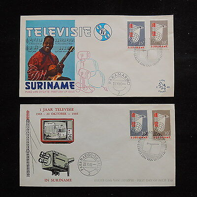 ZS-R828 SURINAME IND - Telecommunication, 1966 Fdc, Television, Lot Of 2 Covers