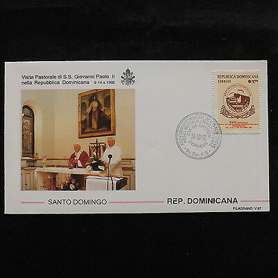 ZS-S061 DOMINICAN REP. - John Paul II, Visit To S. Domingo 1992 Fdc Cover