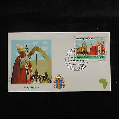 ZS-S163 CHAD IND - John Paul II, Visit To Ciad, 1990, Fdc Cover