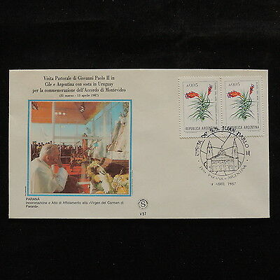 ZS-S190 ARGENTINA - John Paul II, Visit To Parana, 1987, Flowers Cover