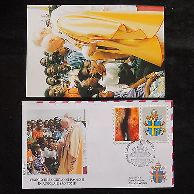 ZS-S395 ANGOLA IND - John Paul II, Visit To Benguela, W/Photo, 1987 Cover