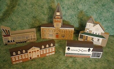 The Cat's Meow Village Wood Shelf Sitters~Doylestown,pa~5 Pcs~Signed Joline~Rare