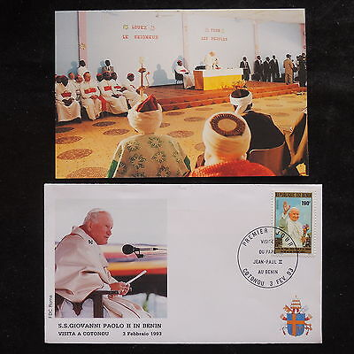 ZS-S515 BENIN - John Paul II, Visit Tocotonou, W/Photo, 1993, Fdc Cover