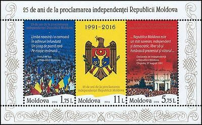 """Moldova 2016 """"Declaration of Independence 25th Anniversary"""" Block 3 MNH stamps"""