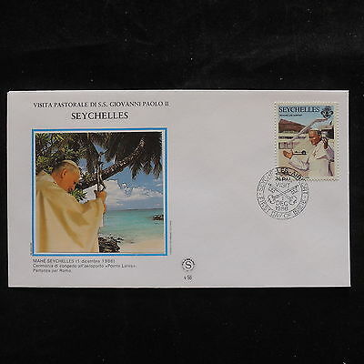 ZS-S586 SEYCHELLES IND - John Paul II, Visit To Mahe, 1986, Fdc Cover
