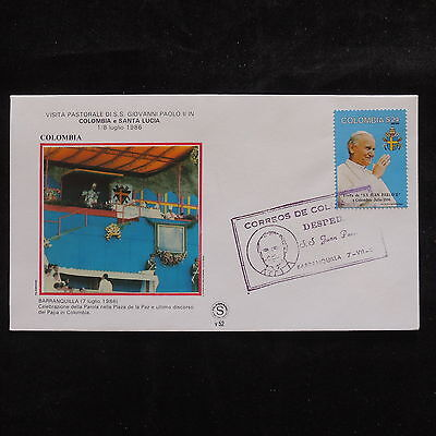 ZS-S664 COLOMBIA - John Paul II, Visit To Barranquilla, 1986, Fdc Cover