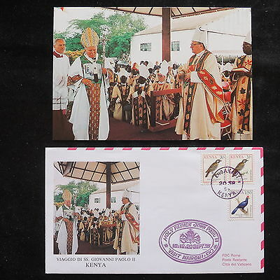 ZS-S761 KENYA - John Paul II, Visit To Embakasi, 1995, W/Photo Cover