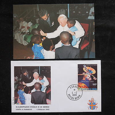 ZS-S772 BENIN - John Paul II, Visit To Parakou, 1993, W/Photo Cover