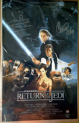 Carrie Fisher & Dave Prowse Dual Signed Star Wars Episode VI 11x17 Steiner COA