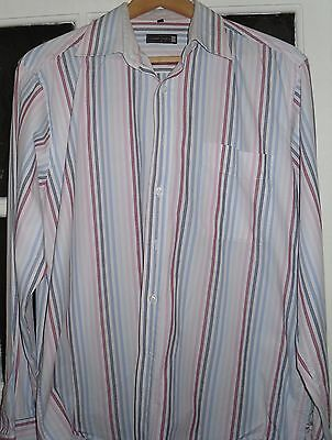 Mens Size L Candy Striped Long Sleeved Shirt From Luciano Versi 100% Cotton