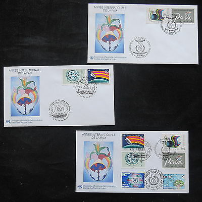 ZS-T215 UNITED NATIONS - Fdc, 1986, Year Of Peace, Lot Of 3 Different Covers