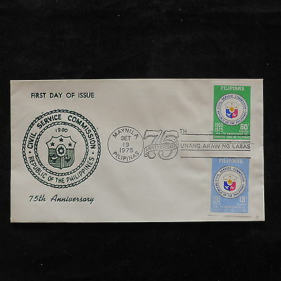 ZS-U780 PHILIPPINES IND - Coats Of Arms, 1975 Fdc 75Th Anniv.Civil Service Cover
