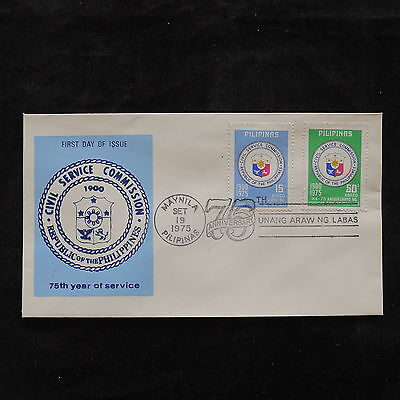 ZS-U781 PHILIPPINES IND - Coats Of Arms, 1975 Fdc 75Th Anniv.Civil Service Cover