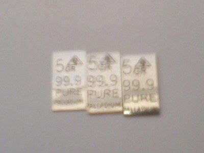3 FIVE GRAIN (5 gr.) PALLADIUM BARS -- 99.9 Pure, 15 grains -- Palladiumbarren