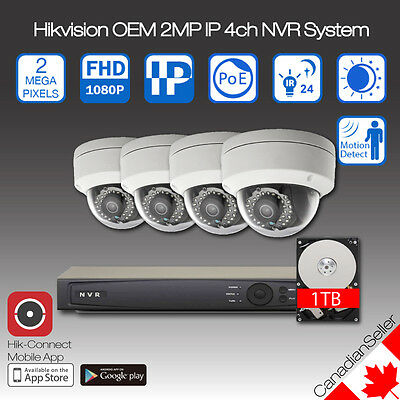 Hikvision OEM 2MP(1080P) IP Camera NVR 4ch CCTV System Package 1TB Onboard