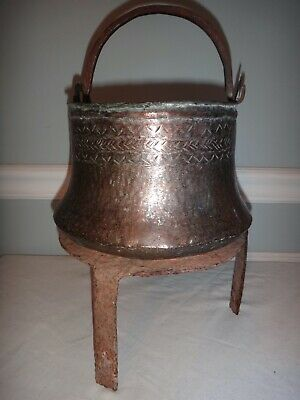Ancient Antique Persian Copper Pot Cauldron Kettle Wrought Iron Bale on Trivet