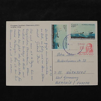 ZS-W014 SHIPS - Chile, 1979, Great Franking, Airmail To Germany Postcard