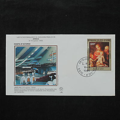ZS-W113 IVORY COAST IND - John Paul Ii, Visit To Africa, 1985, Paintings Cover