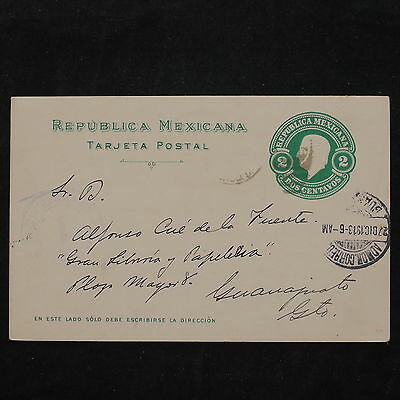 ZS-W200 MEXICO - Entire, 1913, Great Franking Airmail To Guanajuato Postcard