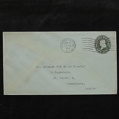 ZS-W233 US COVERS - Entire, 1914, Hudson, Great Airmail To Guanajuato Cover