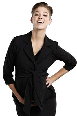 Medium Maternal America Black Audrey 3/4 Sleeve Front Tie Blazer Jacket Career