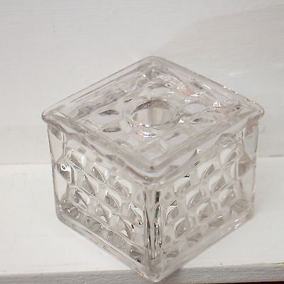A very rare square Hair Receiver with Lid in American pattern Clear by Fostoria