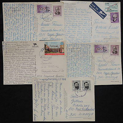ZS-W628 TURKEY - Airmail, 1967, Great Franking, Lot Of 5 Postcards