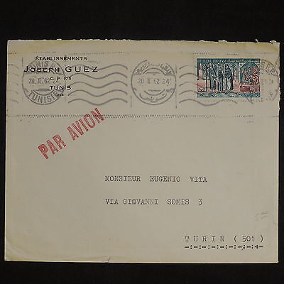 ZS-X817 TUNISIA IND - Airmail, 1962, Joseph Guez To Turin, Italy Cover