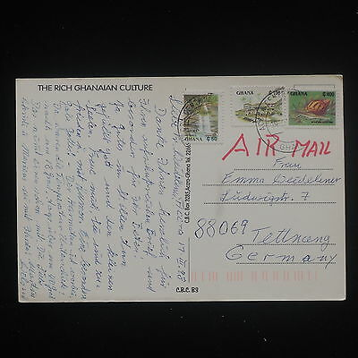 ZS-Y158 GHANA - Postcard, 1998, Airmail To Germany, Rich Ghanaian Culture