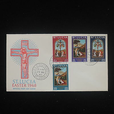 ZS-Y171 EASTER - St Lucia Ind, 1968 Fdc, Religion Paintings Great Franking Cover