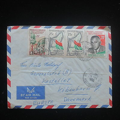 ZS-Y301 MADAGASCAR IND - Cover, 1982, Flags, Airmail To Denmark