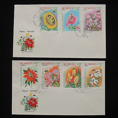 ZS-Y351 FLOWERS - Nicaragua, 1984, Fdc, Great Lot Of 2 Covers