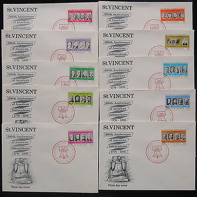 ZS-Y417 ST VINCENT - Fdc, 1976 200Th Anniv. American Indep. Lot Of 10 Covers