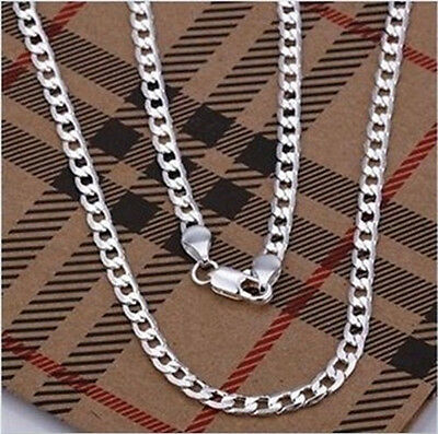 wholesale Fashion NEW 925Silver 4MM WIDE Mens Chain Necklace Good gift+Box