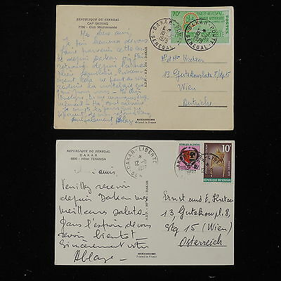 ZS-Y738 SENEGAL IND - Postcards, 1977-1979, To Austria, Lot Of 2