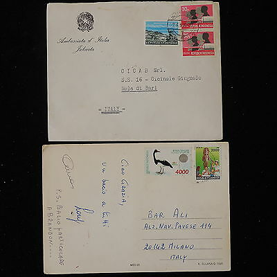 ZS-Y915 INDONESIA - Covers, W/Postcard, 1976, To Italy, Lot Of 2