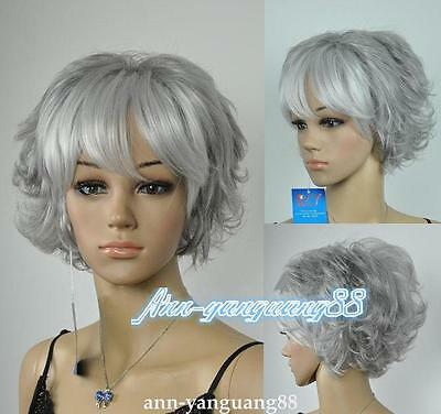 Fashion ladies Wig Short Grey mixed Party Curly hair Wigs + wig cap