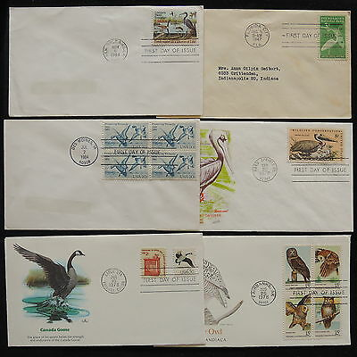 ZS-Z164 US '01-NOW - Birds, Fdc, Lot Of 6 Covers