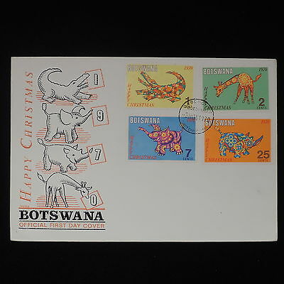 ZS-Z273 BOTSWANA - Fdc, 1970, Merry Christmas.. Wild Animals Cover